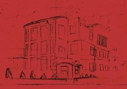 Na czerwonym tle rysunek czarną kreską budynku ODT Światowid