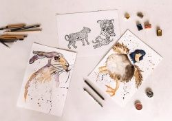 grafika | na szarym tle rysunki królika, tygrysa, kaczki